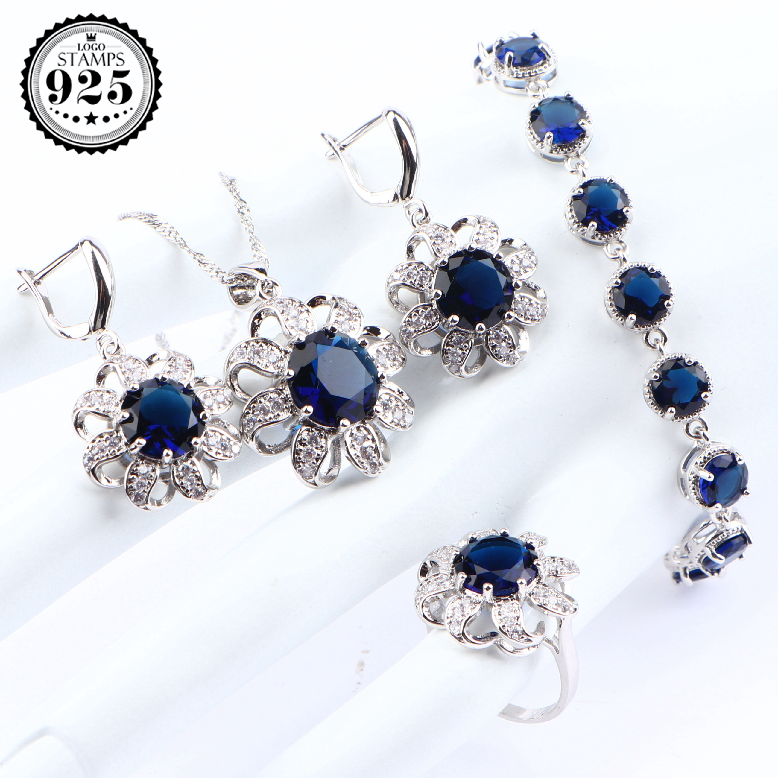 Silver 925 Wedding Bridal Jewelry Sets For Women Costume Zirconia Jewelry Pendant Bracelet Ring Earrings Necklace Sets Gift Box