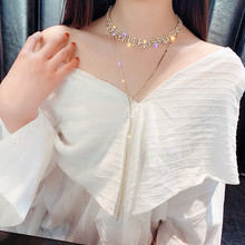 Fringed Crystal Necklace Clavicle Chain Female Moon Imitation Pearl Multilayer Necklace Luxury Personality Ladies Collar Jewelry fringed crystal necklace clavicle chain female moon imitation pearl multilayer necklace luxury personality ladies collar jewelry