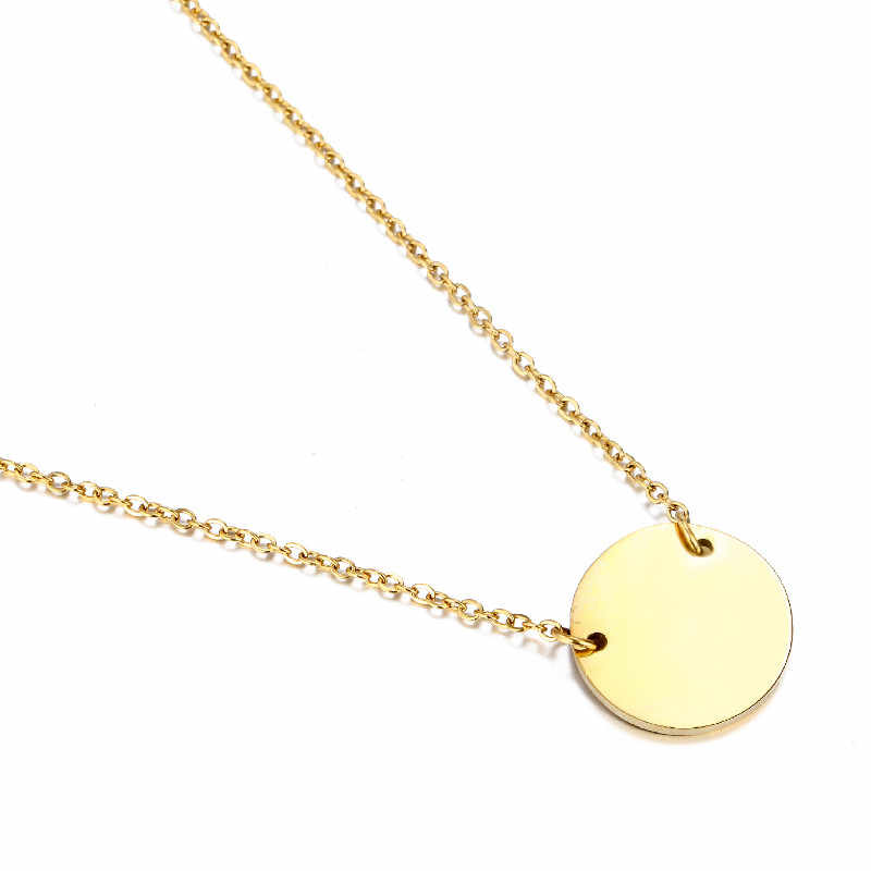 Popular Ladies Stainless Steel Necklace Round Pendant Nameplate Gift Fashion Simple Necklace Ladies Necklace Jewelry 2019