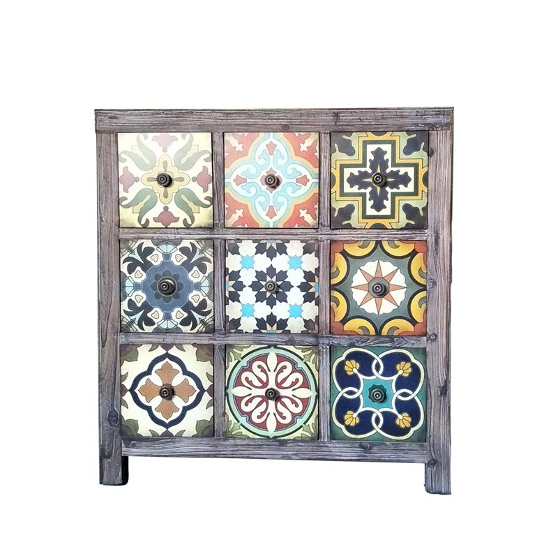American Village Mediterranean Solid Wood Cabinet Retro Old 9 Cabinet Storage Cabinet Furniture Decoration Cabinet.
