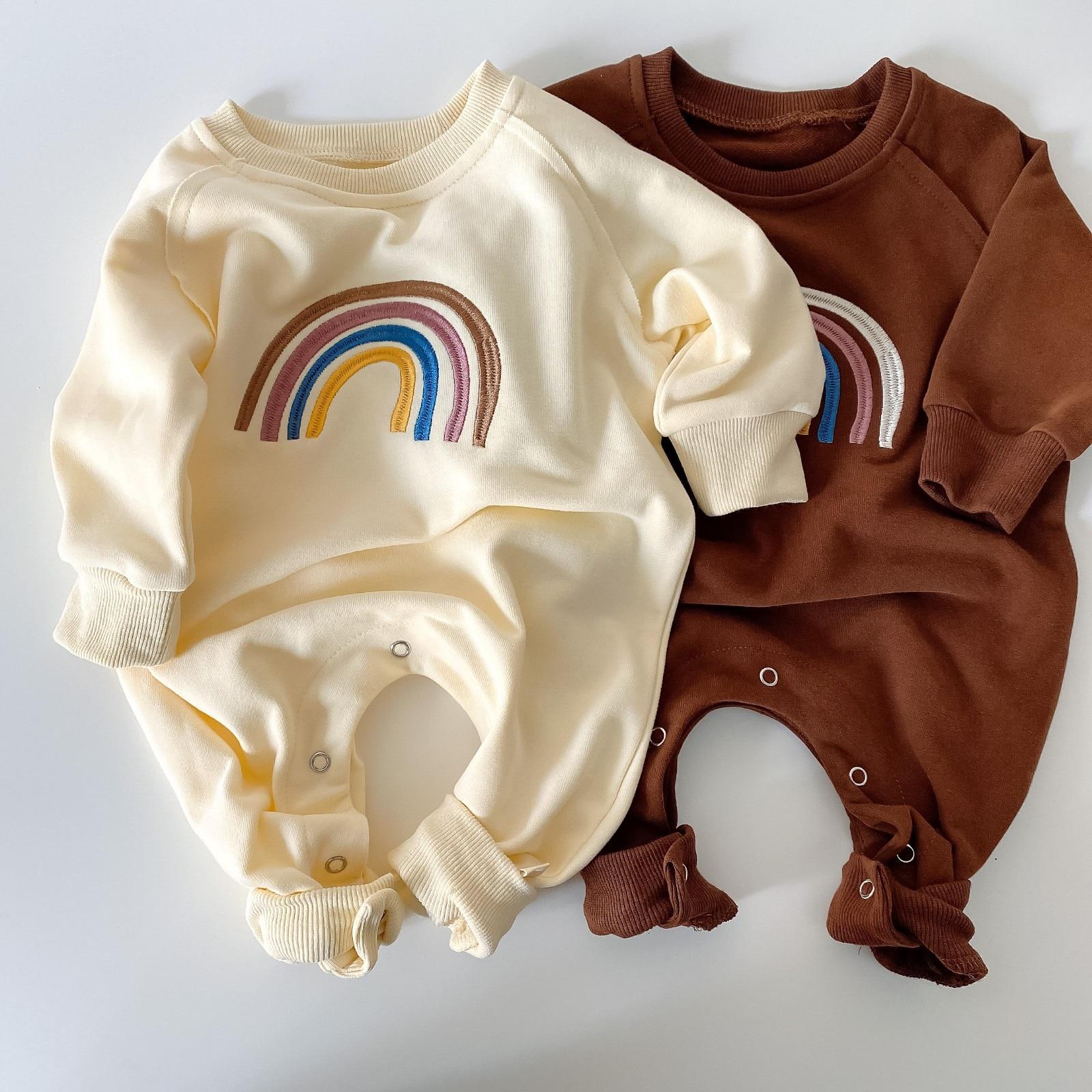15.65US $  5166 Newborn Baby Girl Boy Embroidery Rainbow Clothes Long Sleeve Top Bodysuit 0 24M Baby...