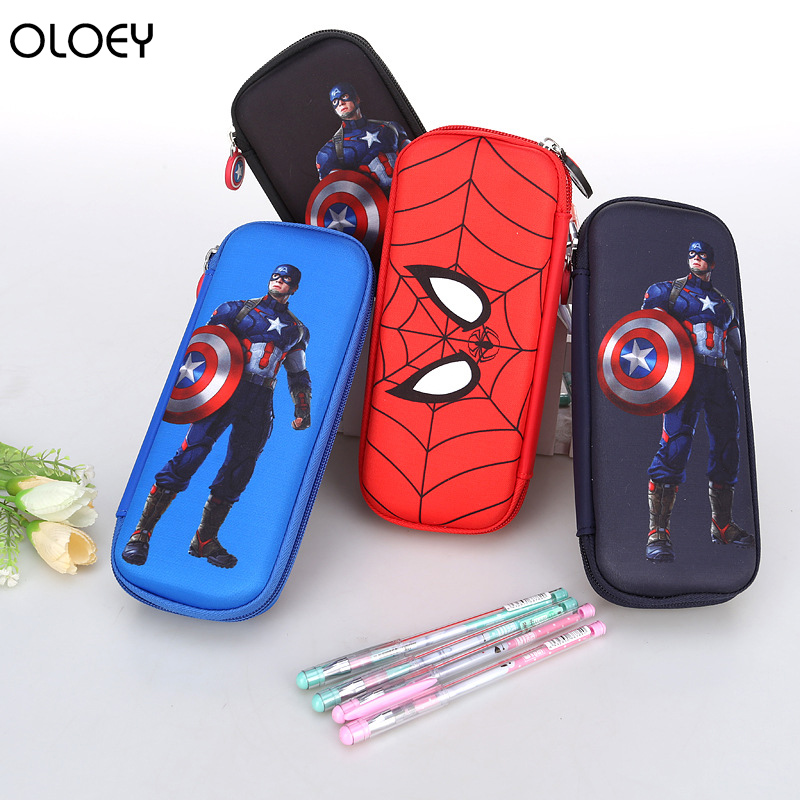 New School Supplies Stationery Box Hard Pencil Case High-capacity Pencil Case Spiderman Pencil Case Captain America Stationery image