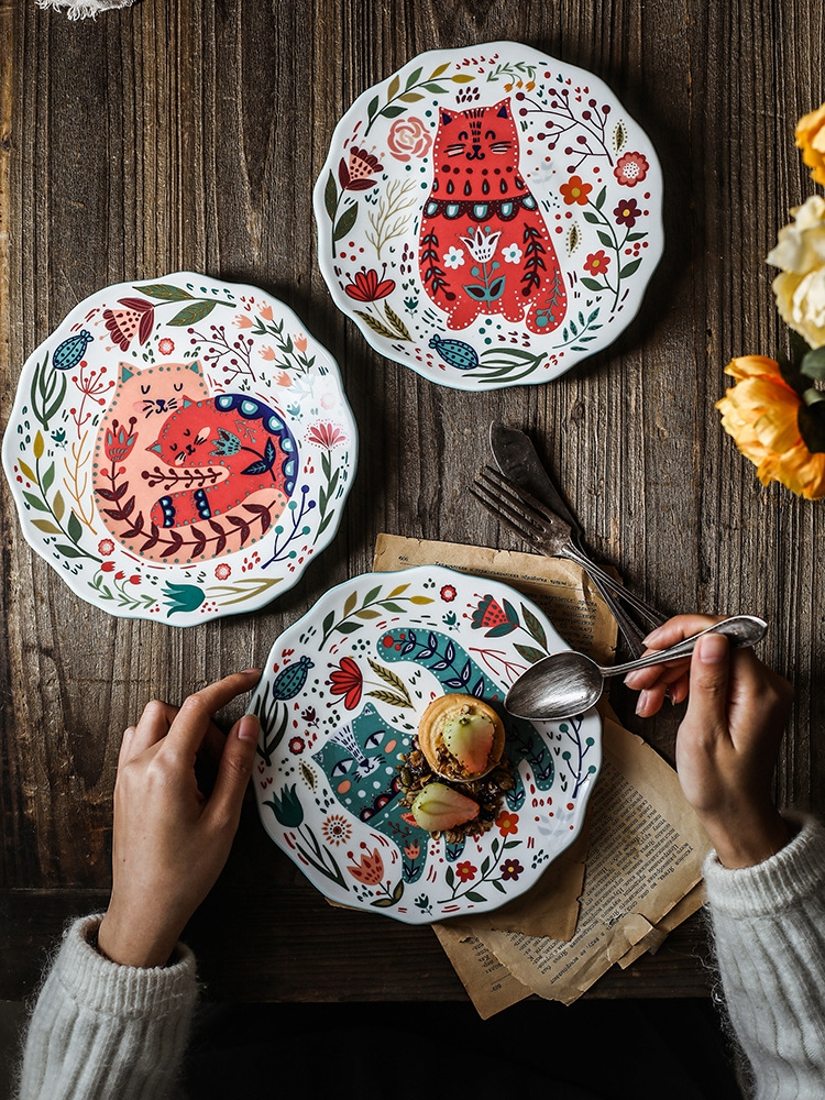 8 inch Hand-painted Cat Dinner Plates