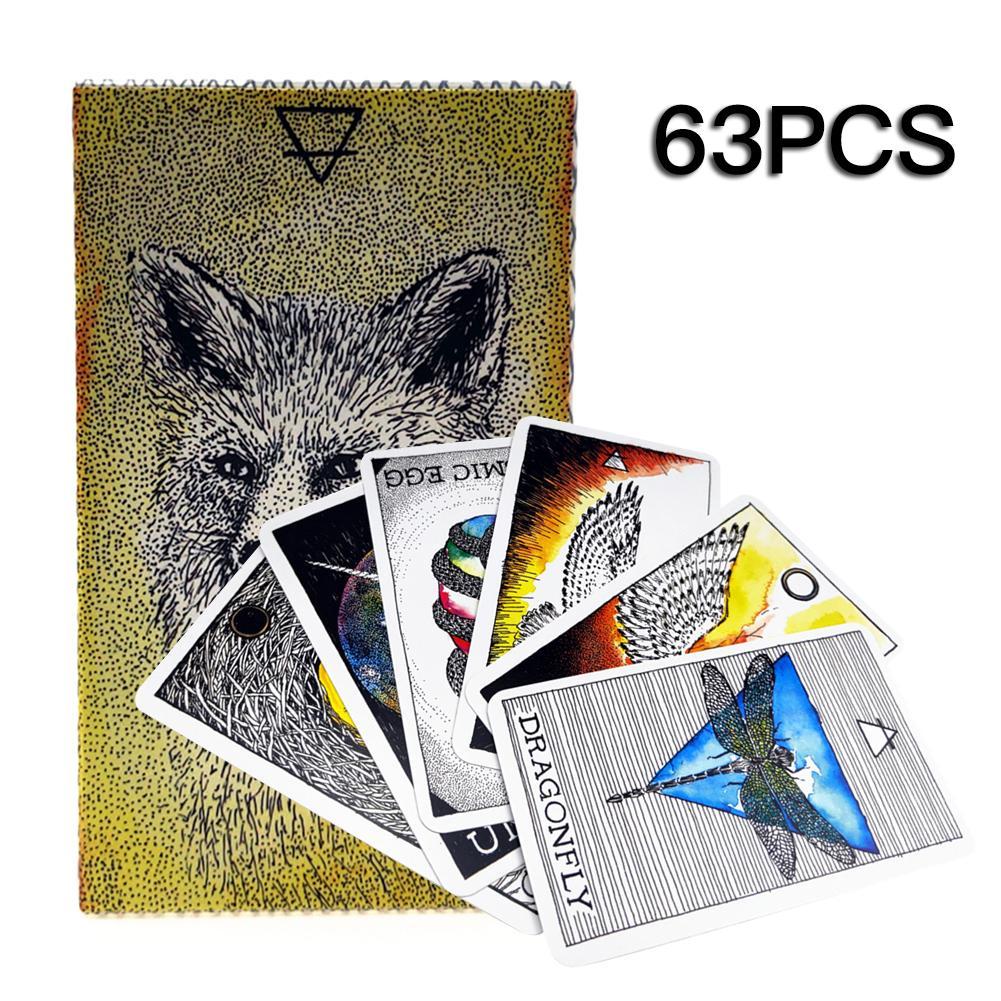 63PCS Animal Spirit Tarot Card Series English Language Tarot Cards For Party Household Use