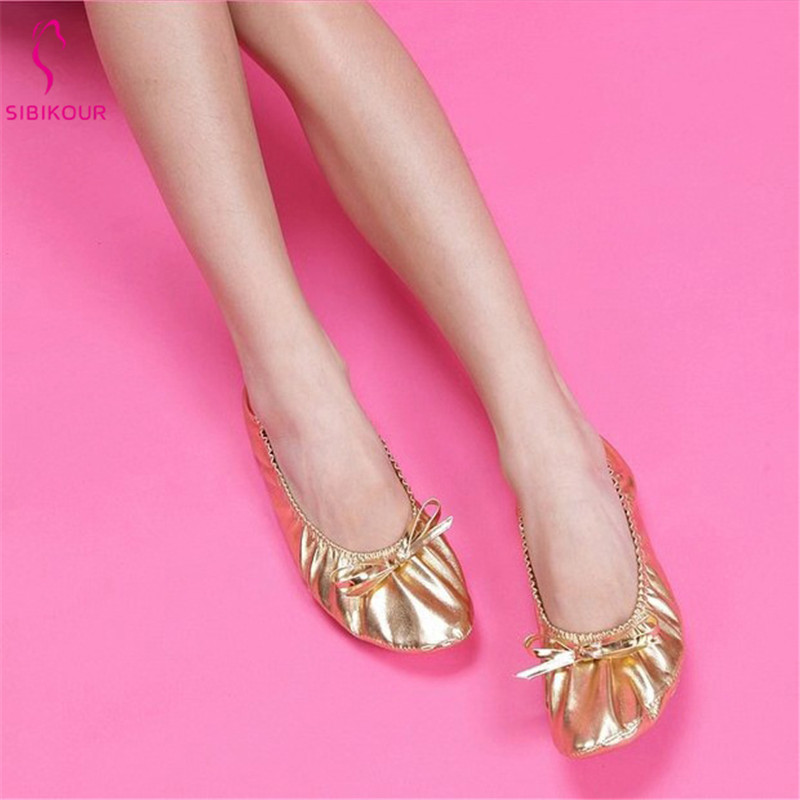 PU Gold Belly Dance Shoes Ballet Dance Shoes Leather For Kids Girls Women Soft Indian Training Performance Acrobatics Flats