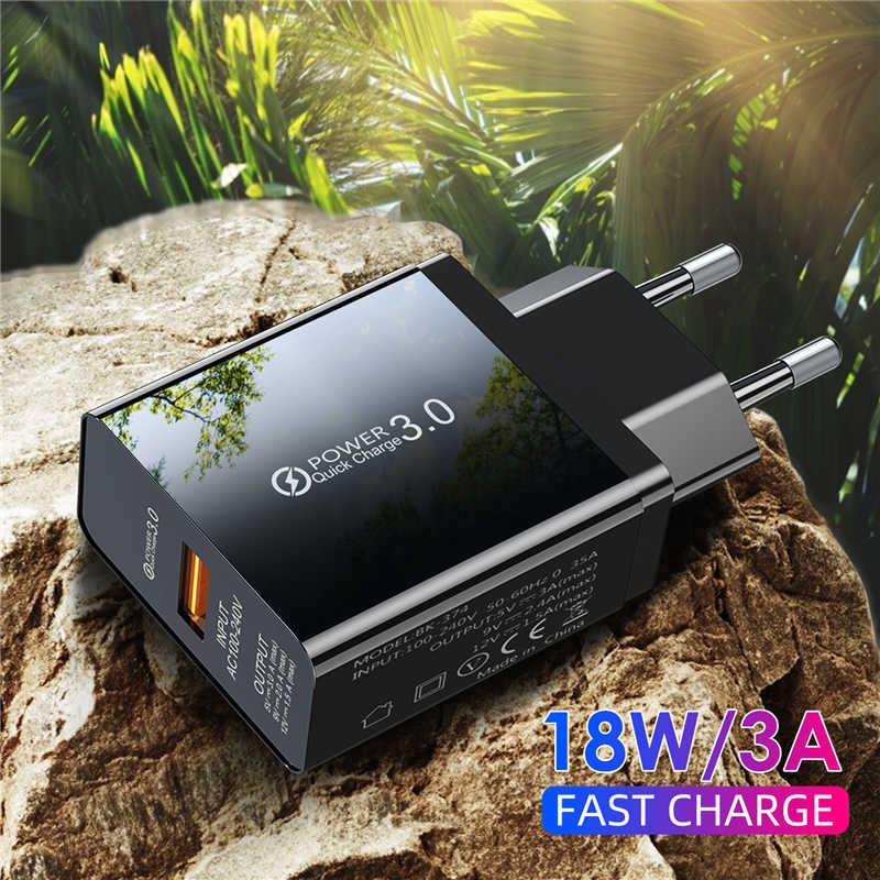 Lovebay Charger Cepat 3.0 Usb Ponsel Usb Charger 18W Uni Eropa Plug Charger Dinding USB QC3.0 untuk Iphone Samsung huawei Xiaomi