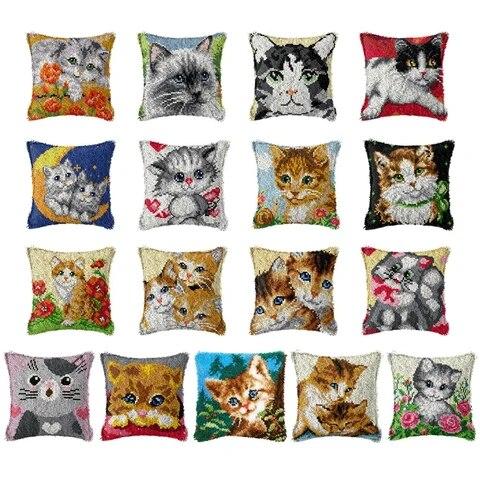 Cute Cat 3D Segment Embroidery Pillow Cover Handcraft DIY Latch Hook Kits Cross Stitch Materials Supplies