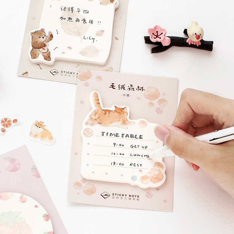 Plush Forest Series Paper Sticky Notes Memo Pad Diary Stationary Flakes Scrapbook Decorative Cute Rabbit Cat N Times Sticky