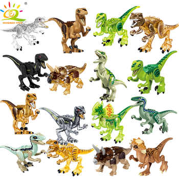 HUIQIBAO TOYS 8PCS Dinosaur park T-Rex Blue figures Building Blocks for Children Jurassic city World Legoingly Bricks DIY set - DISCOUNT ITEM  47% OFF All Category