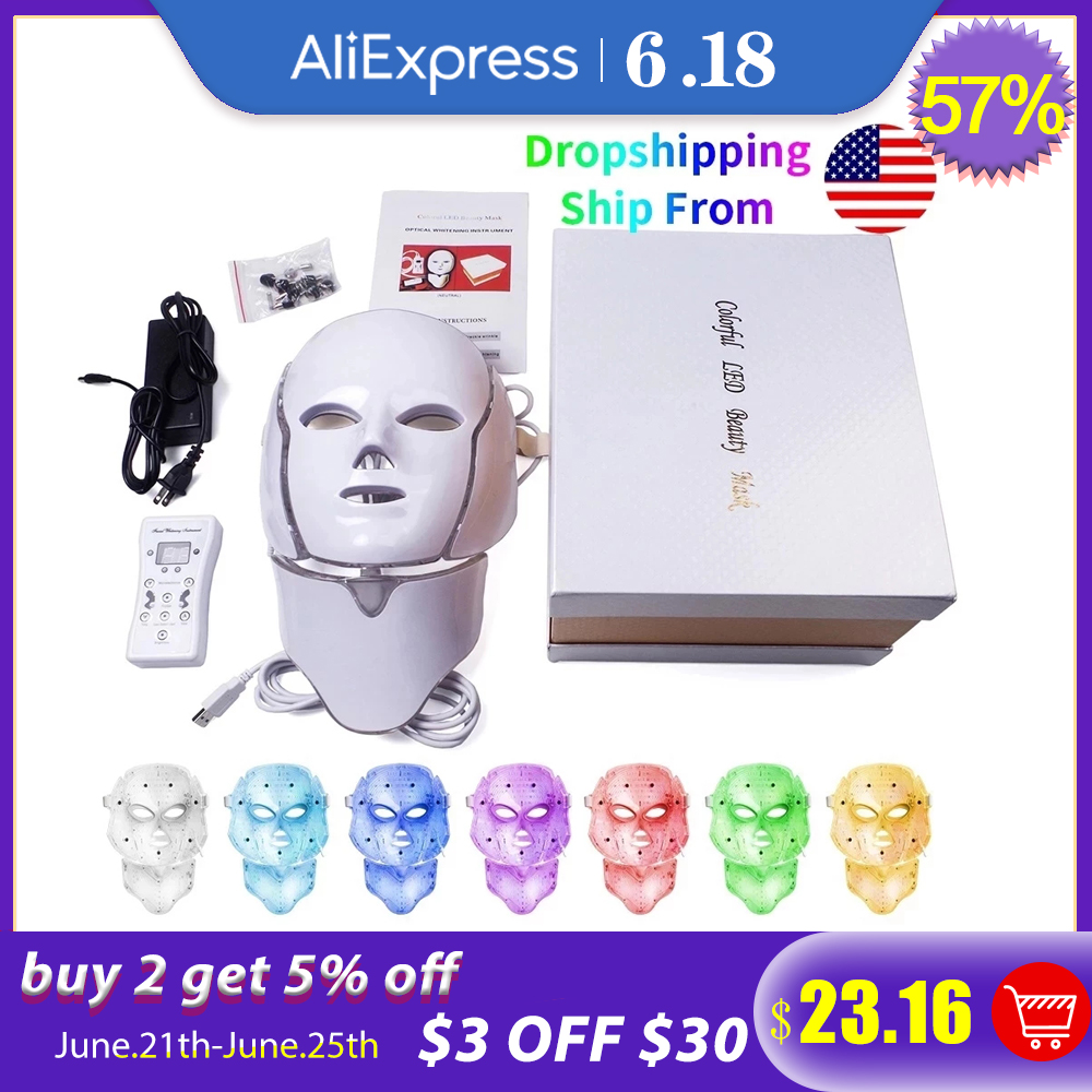 Foreverlily 7 Colors Led Facial Mask Led Korean Photon Therapy Face Mask Light Therapy Acne Wrinkle Removal Neck Beauty LED Mask