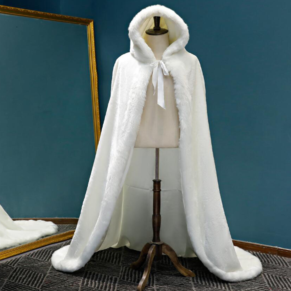 SHAMAI Warm Faux Fur Trim Winter Bridal Cape Stunning Wedding Cloaks Hooded Long Party Wraps Jacket White/Ivory Wrap