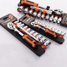 29 adet profesyonel 1/4 inç (6.3MM) lokma anahtar seti CR V sürücü cırcır anahtarı anahtarı ev aletleri için araba tamir aracı Set