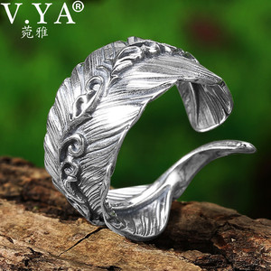 V.YA 100% Real 925 sterling silver Feather Couple Ring Retro Women Open Rings Thailand Silver Men's Ring 2019 Jewelry(China)