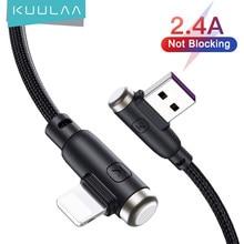 KUULAA iPhone için USB şarj kablosu 12 11 Pro Max X XS XR iPad USB kablosu kablosu 90 ° dirsek 2.4A hızlı şarj kablosu Data Sync tel