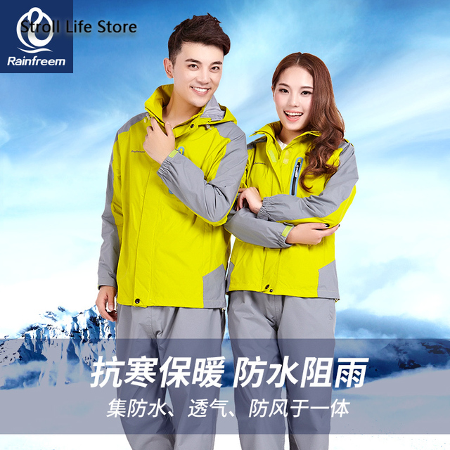 Outdoor Raincoat Women's Thickened Add Cashmere Riding Motorcycle Rain Coat Poncho Women Electric Car Hiking Mens Sports Suits 1
