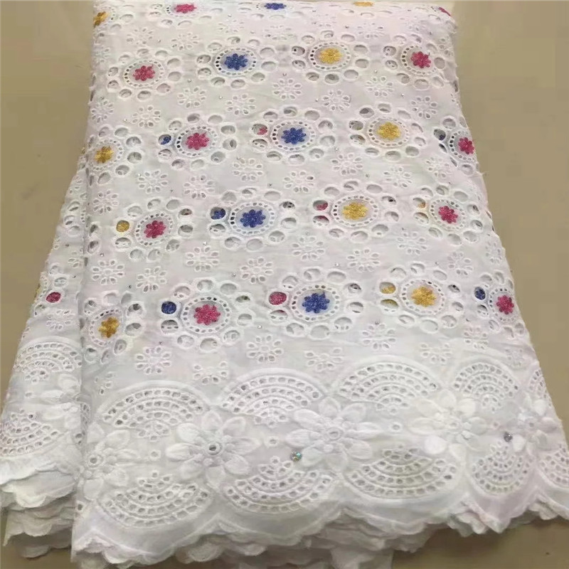 5 Y Swiss Lace Fabric 2019 Dubai Heavy Beaded Embroidery African Lace Fabrics 100% Cotton Swiss Voile Lace In Switzerland TX0813