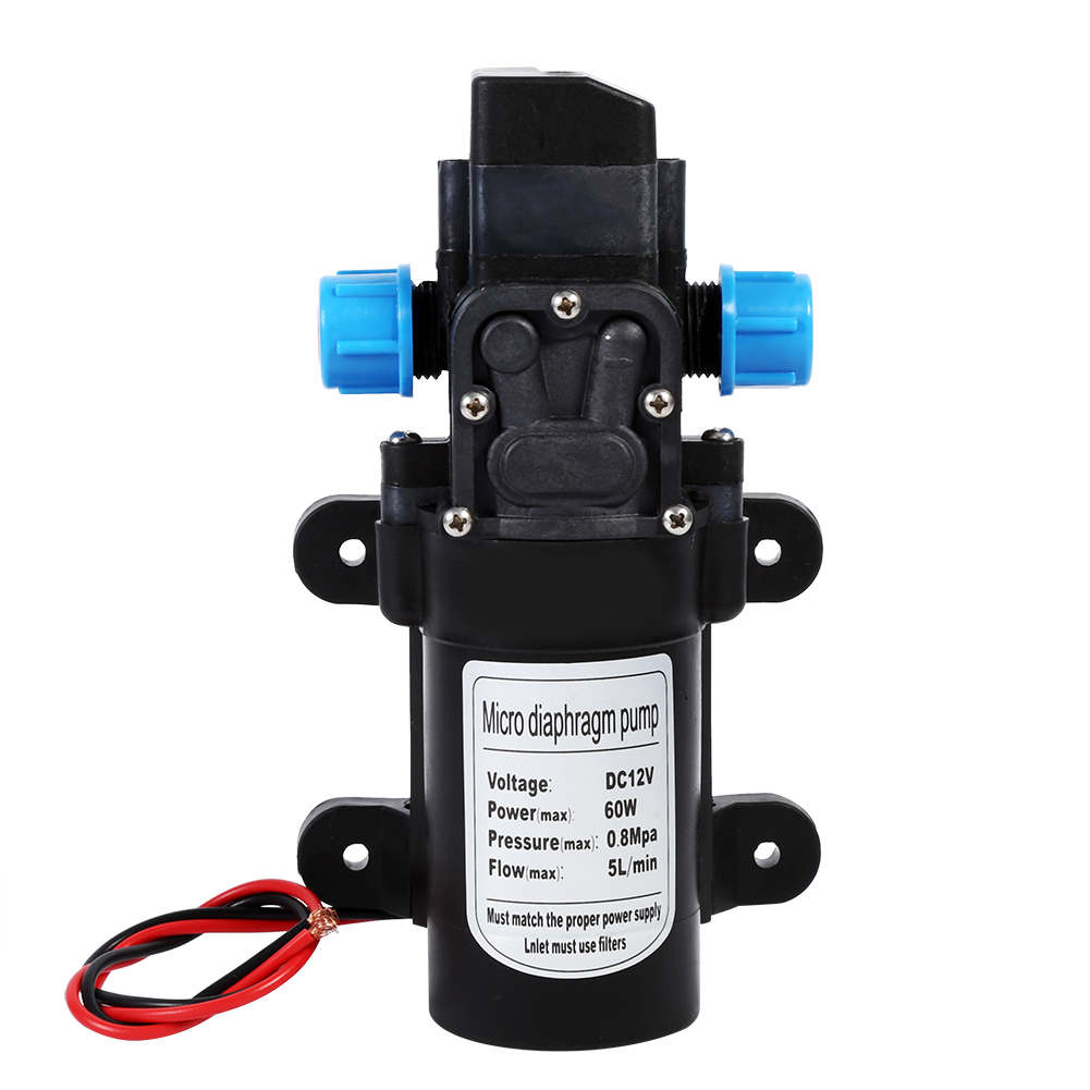 60W DC 12V 80PSI 5L/Min Water Micro High Pressure Diaphragm Self Priming Pump Built-in Pressure Switch For Home Garden Caravan