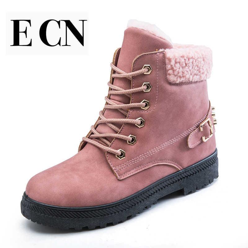 ECN Winter Laarzen 2019 Nieuwe Vrouwen Mode Pluche Warme Schoenen Waterdichte Platte Lace Up Vrouwelijke Enkellaars Koele Stijl Sneeuw laarzen