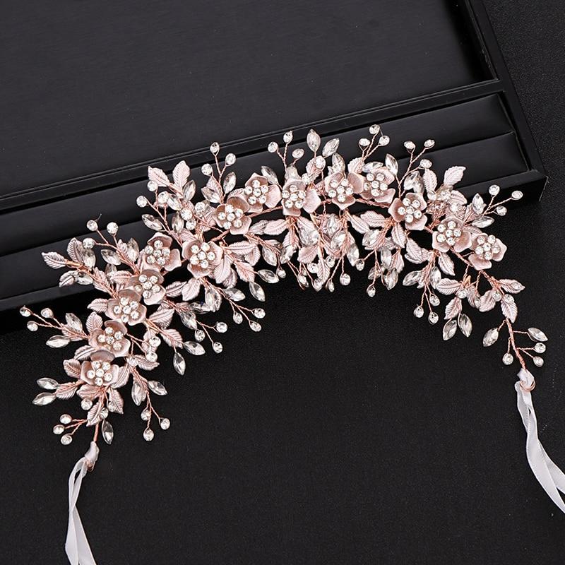 Image 5 - Trendy Silver Flower Bridal Headband Prom Tiara Wedding Hair Accessories Handmade Hair Vine Crystal Headband Bride Hair JewelryHair Jewelry   -