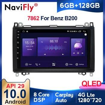 Radio con GPS para coche, Radio con reproductor de vídeo, Android 10, 6G + 128G, QLED, 4G, para Mercedes Benz B200, Clase A, B, W169, W245, Viano, Vito, W639, Sprinter, W906