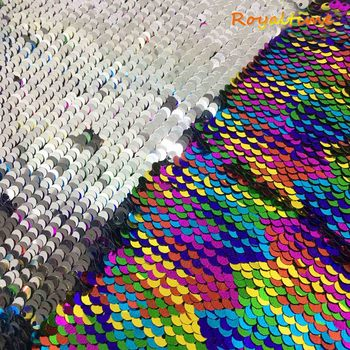 Double Face Sequins Fabric For Handbags Garments DIY Tissue Sewing Fabric Material Craft Making Accessories-Rainbow/Silver image