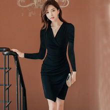 Fashion Women Sheath Bodycon Dress Women Autumn Sexy V-neck