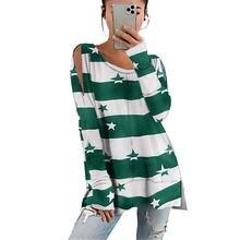 Осень зима 2020 Новая модная женская полосатая футболка в европейском