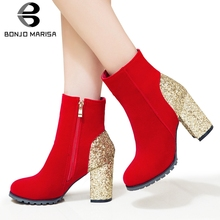 BONJOMARISA Plus Size 31-50 Dropship Party Glitters Booties Ladies Elegant Wedding Ankle Boots Women 2019 High Heels Shoes Woman