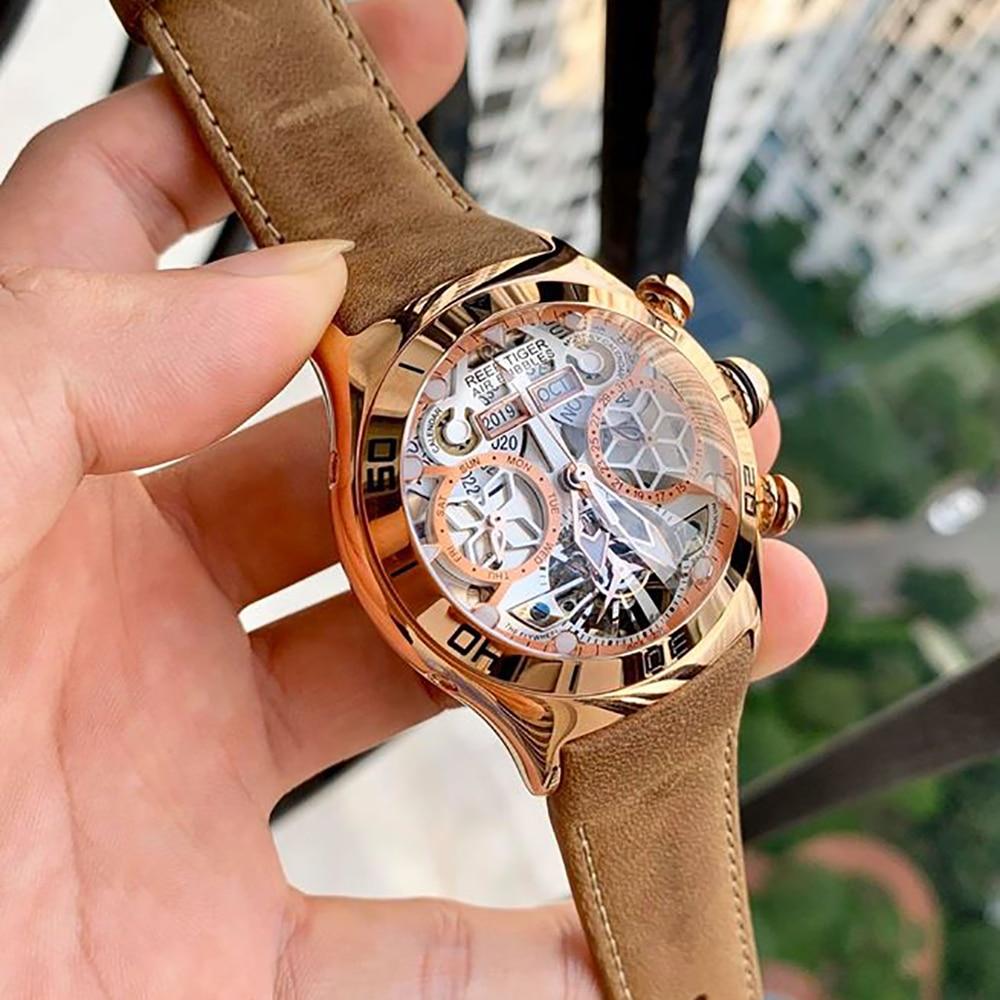 Reef Tiger/RT Sport Watch For Men Skeleton Luminous Watch Year Month Date Day Rose Gold Automatic Watches RGA703 watch for watches for mentiger tiger - AliExpress