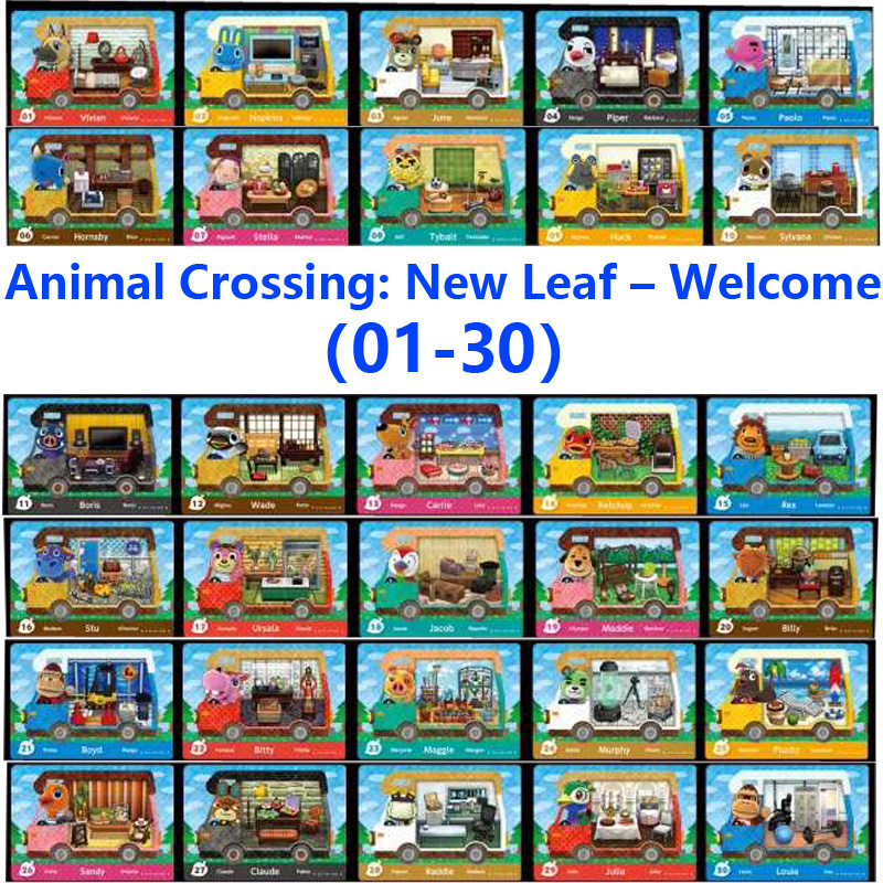 Animal Crossing New Leaf Welcome (01-30)Amiibo Locks Nfc Printing Card Work For NS Games Leaf Welcome (01-30)