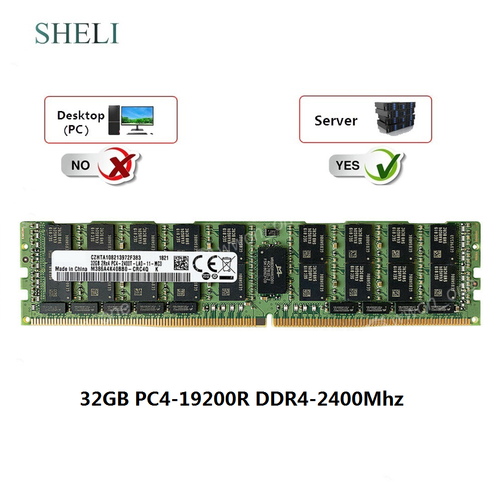 SHELI <font><b>32GB</b></font> 2Rx4 <font><b>DDR4</b></font>-19200L <font><b>DDR4</b></font>-2400mhz 288PIN 1.2V Load Reduced LRDIMM Server <font><b>RAM</b></font> image
