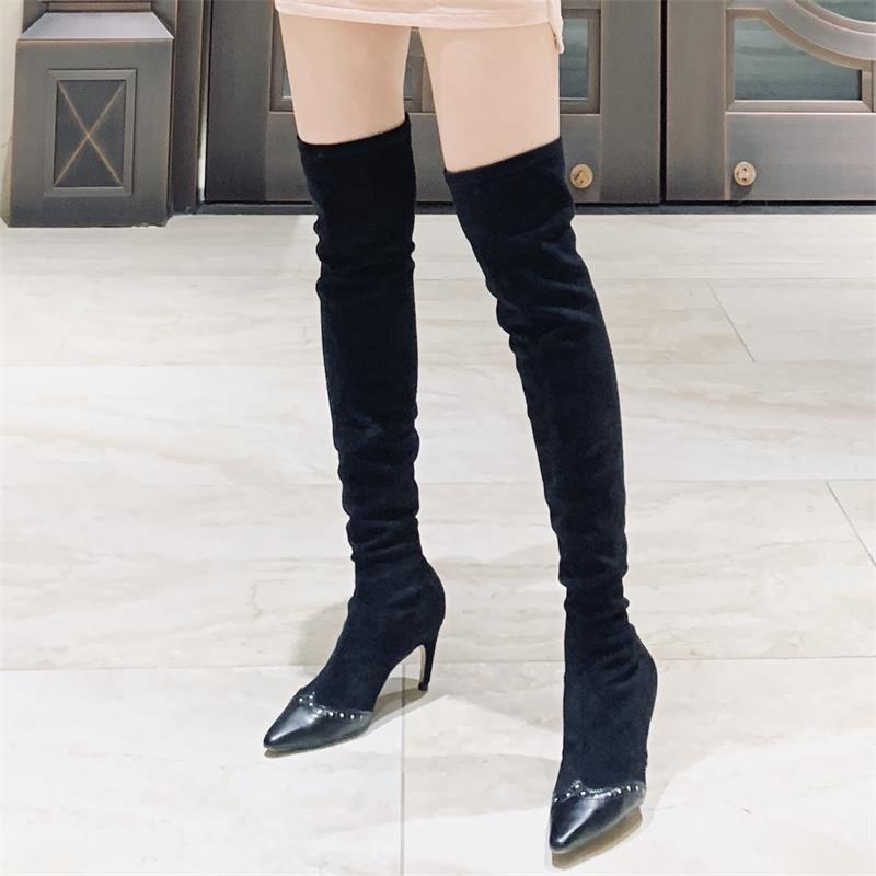 KATELVADI Women Sexy Over The Knee Boots Shoes Women Pointed Toe 7CM High Heels Pumps Warm Winter Boots K 540 in Over the Knee Boots from Shoes