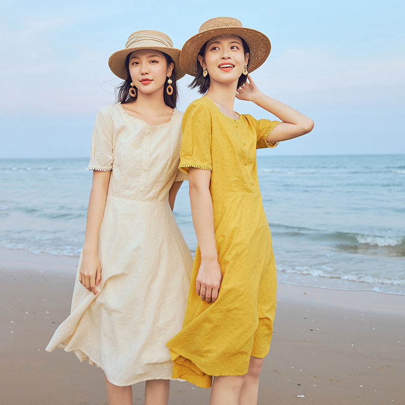 INMAN 2020 Summer New Arrival Pure Cotton Retro Square-cut Collar Elegant Leisure Short Sleeve Dress