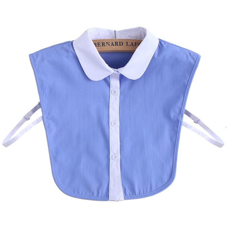 Commuting Office Ladies Simple False Fake Collar Blue White Contrast Color Button Down Women Detachable Lapel Half-Shirt