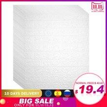 Adesivo para parede com efeito 3D, 70x77 cm, com 12 pçs, papel de parede adesivo à prova dágua, com aspecto de tijolos, para decoração de sala de estar, quarto de criançasAdesivos de parede