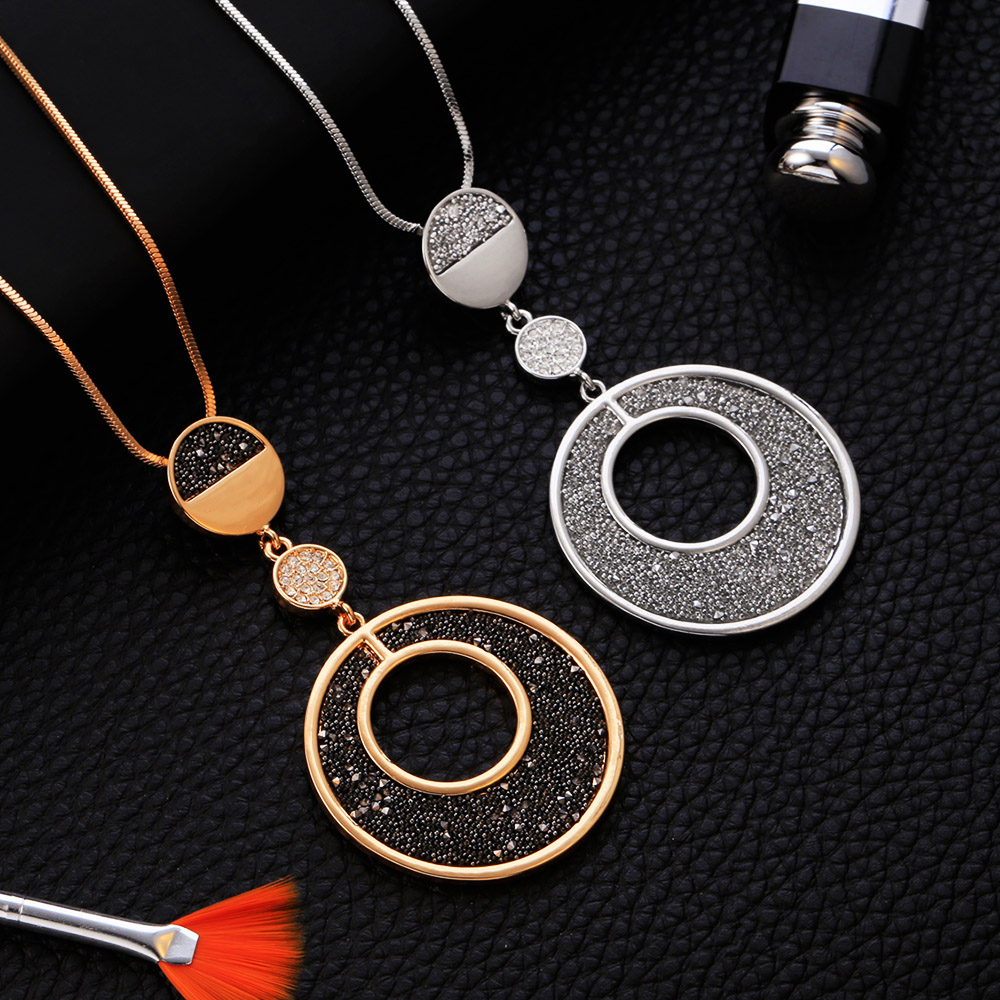 Women's Necklaces Fashion 2020 Statement Circles Black Crystal Pendant Female Long Necklace Snake Chain Jewelry Accessories