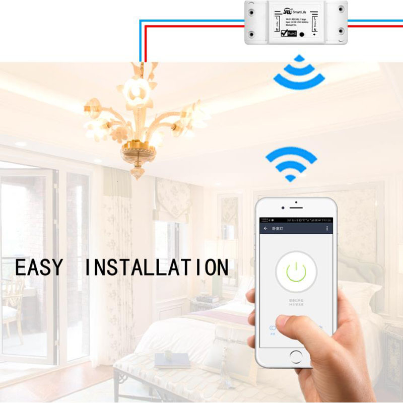 Smart WiFi Universal Light Switch Breaker Timer Smart Life APP Wireless Remote Control Works With Alexa Google Home