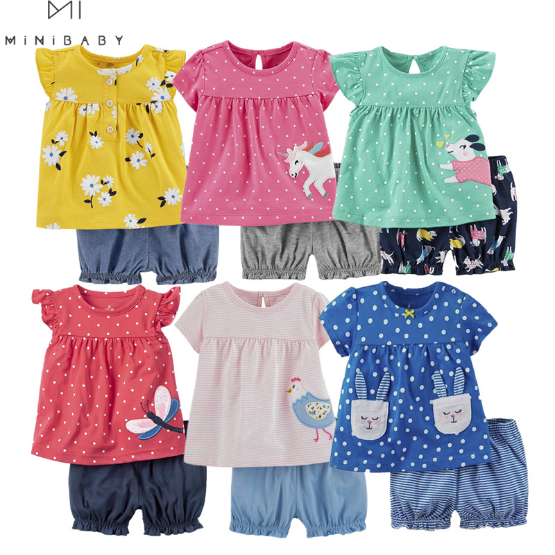 Fashion 2020 Minibabies Summer Short Sleeve Baby Sets For Baby Girl Clothes ,  Cotton Girls Clothing Set Toddler Baby Clothing