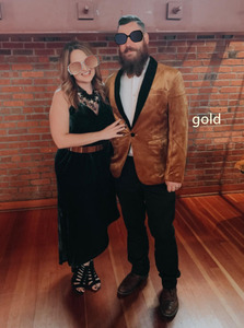 Image 5 - PYJTRL גברים של ירוק סגול ורוד כחול זהב אדום שחור קטיפה אופנה חליפת מעיל חתונה חתן שלב זינגר לנשף Slim fit טרייל