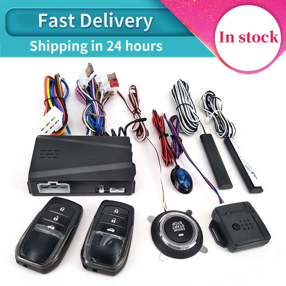 12V Car Alarm Remote Control Car Keyless Entry Engine Start Alarm System Push Button Remote Starter Stop Auto Anti-theft System