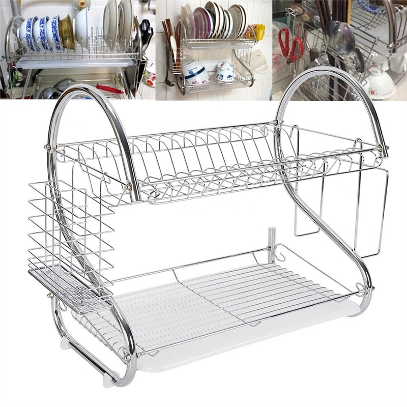 2 Tiers Dish Rack Holder Drying Storage Rack Shelf For Dises Plate Bowl Cup Drainer Kitchen Sink Cabinet Organizer Accessories