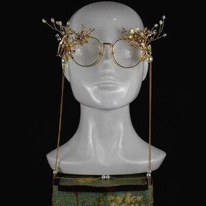 Image 3 - Zilead kobiety luksusowe perły okrągłe okulary rama Metal kryształ kwiat ramki okularów panna młoda ślub fotografia rekwizyty dekoracji