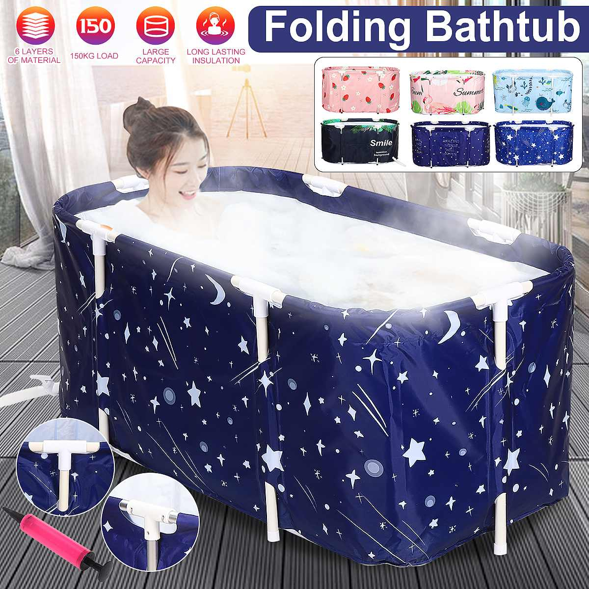 Portable Folding Bathtub Set Tub Bucket Kit Soaking Bathing Tub For Adult Kids Family Beauty Spa Bathtub