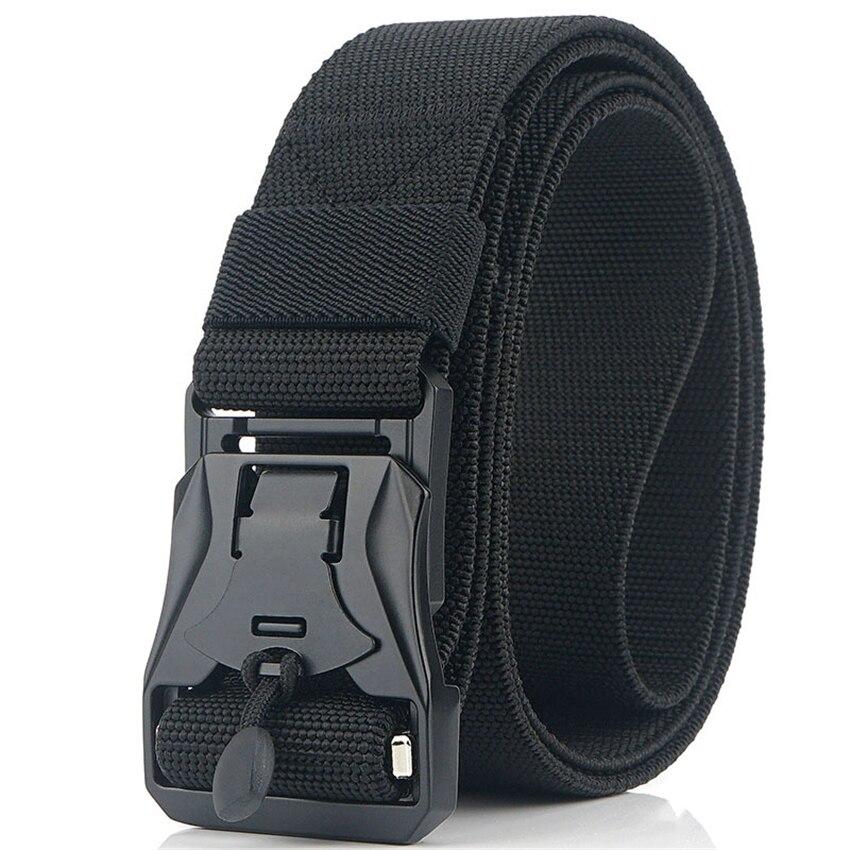 Elastic Men Belt Magnetic Metal Buckle Adjustable Nylon Belts For Trousers High Quality Outdoor Training Tactical Designer Belt