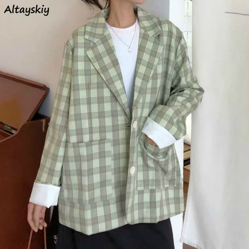 Blazers Women Plaid Single Breasted Simple All-match Long Sleeve Oversize Lady Jackets Korean Style Chic Soft Trendy New Spring