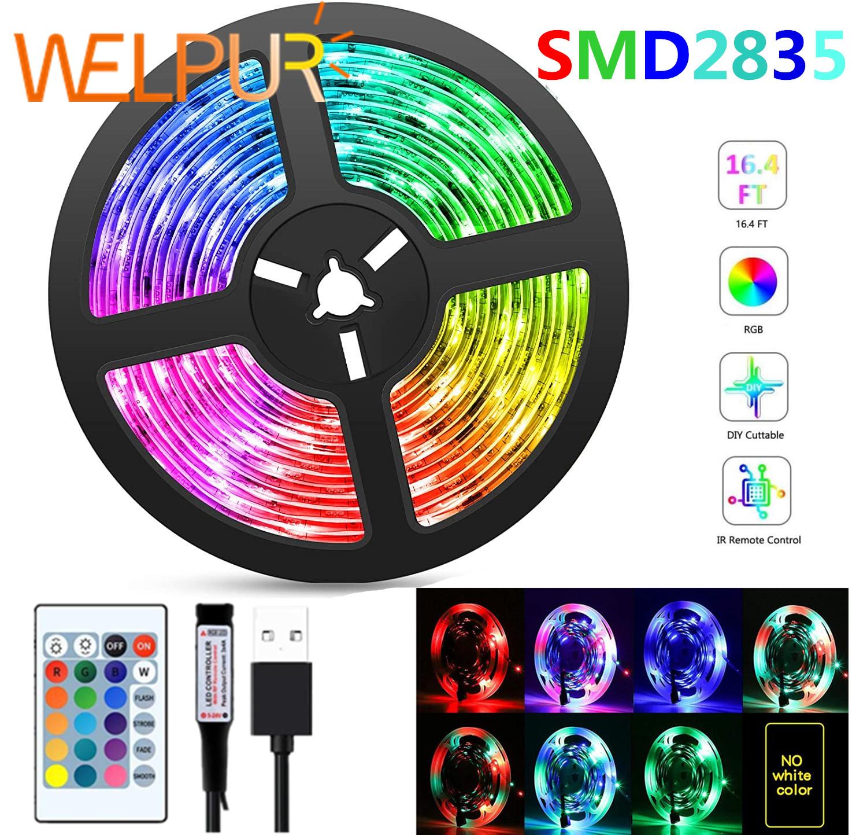 LED Strip Light Flexible RGB 2835 USB 5V Decoration Lighting Remote Controller Ribbon Lamp For FestivalParty Bedroom TVBackLight
