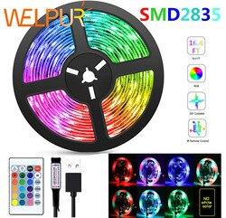 Светодиодная гибкая ленсветильник RGB 2835 USB 5 В, декоративсветильник освещение, лента с пультом дистанционного управления, лампа для праздник...