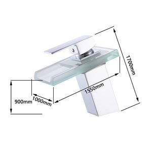 Image 4 - Bathroom Waterfall Led Basin Faucet Glass Waterfall Brass Made Basin Faucet Bathroom Mixer Tap Deck Mounted basin sink Mixer Tap