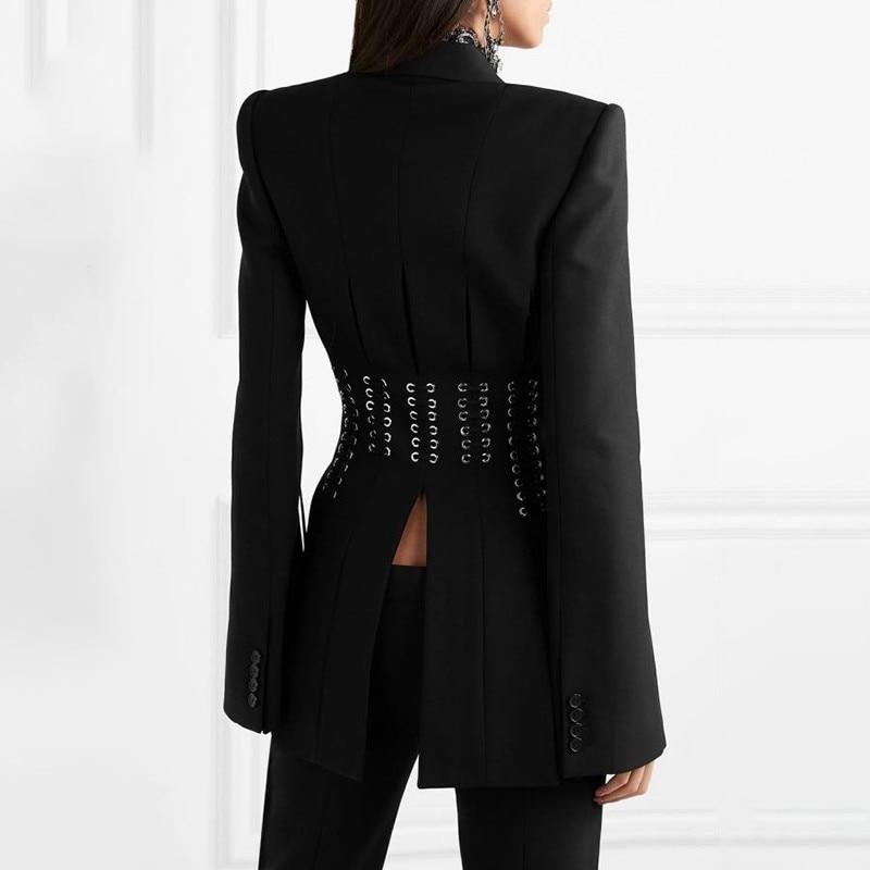 KAMIYING Casual Women Blazer Lapel Single Button Long Sleeve Button Bandage Split Slim Black Female Coat
