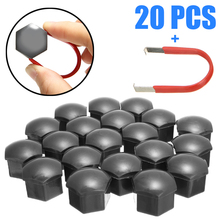 20pcs/set Car Styling Gray 17MM Wheel Nut Cap Alloy HEX Bolt Cover with Removal Tool Universal